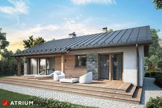 Projekt domu AT Roberto CE - DOM - gotowy koszt budowy Small Modern House Plans, Simple House Plans, My House Plans, Bungalow House Design, Modern House Design, House Outside Design, Model House Plan, Prefabricated Houses, Architect House