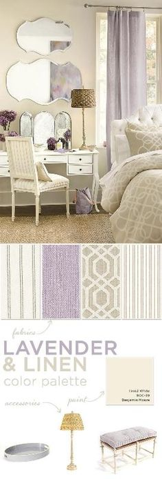 Lavender color palette for bedroom