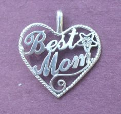Sterling Silver, 3D Diamond Cut, Best Mom Heart with Star, Charm / Pendant