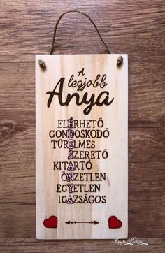 Kézzel pirografált és festett Anyák napi fa tábla : )) #krisztakuckója #pyrography #wood #woodburning #mothersday #gift #mothersdaygift Handmade Jewelry, Handmade Items, Handmade Gifts, Pyrography, Marketing And Advertising, Etsy Seller, Lettering, Decor, Hand Made Gifts