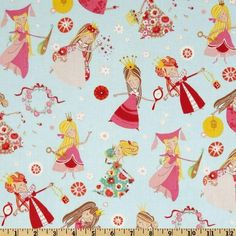 Fabric 1yd Once Upon A Time Fair Maidens Blue Princess Fantasy Fairy Alex Henry | eBay