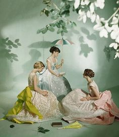 Summer dresses photographed by Cecil Beaton, 1950s.