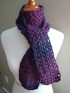 """Free crochet pattern. Blueberry Pie Scarf!  Materials:  K Crochet Hook (6.5 mm)  1-2 Skeins of Lion Brand """"Tweed Stripes"""" yarn in the Orchid colorway (or similar weight yarn) Note: the scarf shown is 60 inches long and used exactly one skein of the yarn.  If you desire a longer scarf, use more than one skein.  Tapestry needle for weaving in ends."""
