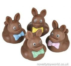 Bulk Buy   Novelty Chocolate Easter Bunny Design Rubber Ducks (5cm)