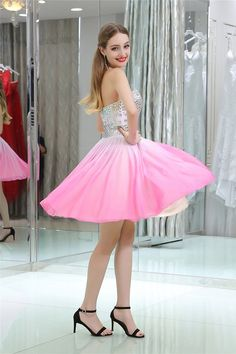 Fashion Strapless Short Pink Gradient Chiffon Beaded Prom Dress Ombre Prom Dresses, Pink Party Dresses, Prom Dresses 2018, Beaded Prom Dress, Beaded Chiffon, Prom Dresses For Sale, Maze, Evening Gowns, Dress Outfits