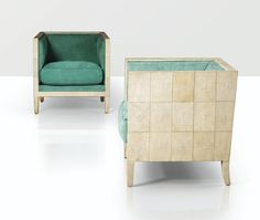 Jean-Michel Frank, a paire of 1928 shagreen covered wood armchairs.