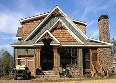 Cottage House Plans have become very popular due to a changing economy. When we design a cottage house plan we try to create the feeling of living. Rustic Houses Exterior, Exterior House Colors, Exterior Paint, Exterior Design, Exterior Shutters, Cottage Style Decor, Rustic Cottage, Rustic Farmhouse, Rustic Wood