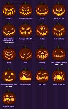 Carved pumpkins,  face pumpkins, spiderd, ghosts, skull, trees, bats, moon, Carving pumpkins, pumpkin decor, carving pumpkin hack, clean out a pumpkin, pumpkin design, Halloween, fall, autumn, thanksgiving, outdoor decor, pumpkin patterns, diy decor, diy Halloween #afflink #az