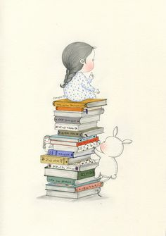How many books can you read? | girl, cute y friends Pencil Art Drawings, Art Drawings Sketches, Cute Drawings, Children's Book Illustration, Whimsical Art, Cute Wallpapers, Cute Art, Art Girl, Book Lovers