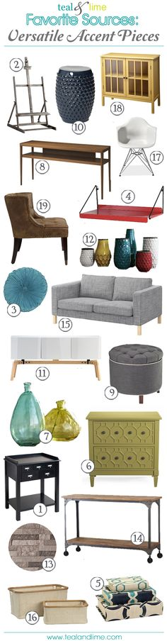 Favorite Sources: Versatile Accent Pieces | Teal & Lime