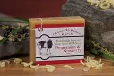 Handmade 100% Raw Goat Milk Peppermint & Rosemary Soap (4oz./Bar) by Horse…