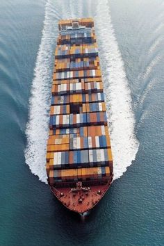 Cargo shipping container ship on ocean going to the next port. Container Transport, Oil Tanker, Merchant Marine, Great Lakes, Aerial Photography, Water Crafts, Transportation, Cruise, Packing Services