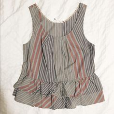 Striped Anthropologie Sleeveless Top Striped blue and pink sleeveless top. Anthropologie Tops Tank Tops