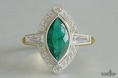 Custom Fine Jewellery Design New Zealand Marquise Cut Emerald and Baugette Diamond Art Deco Antique Style Ring in Yellow Gold and White Gold Setting