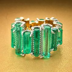 Twenty carats of Muzo emeralds in one exceptional eternity ring. Each gem is polished but still retains its crystal shape. Emerald Ring Design, Emerald Jewelry, High Jewelry, Unique Jewelry, Opal Jewelry, Jewelry Bracelets, Jewellery, Ruby Diamond Rings, Crystal Shapes