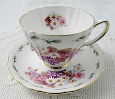 Royal Vale Tea Cup and Saucer with Flowers and Green Border, Vintage Bone China