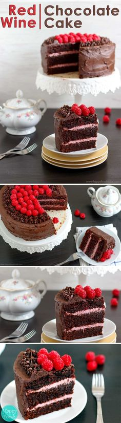 Luxurious Red Wine Chocolate Raspberry Cake is so delicious you won't be able to resist another slice. Best ever birthday cake recipe via @happyfoodstube