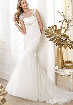 Tulle,lace Trumpet Chapel Train Scoop Natural Waist Wedding Dress