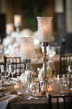 Crystal-and-Silver-Candle-Centerpiece
