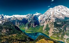 Download wallpapers mountain landscape, Spring, rocks, snow-capped peaks, mountain lake, forest