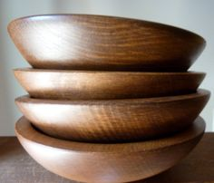 Vintage Wooden Salad Bowls by Woodcroftery