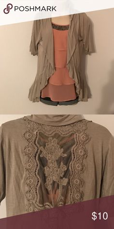 Open front cardigan! Open front cardigan with back sheer crocheted design! Color is light gray ❤ comment with any questions ONE WORLD Sweaters Cardigans