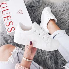 Jaida Low-Top Sneakers at Guess Guess Shoes, Me Too Shoes, Fashion Illustration Shoes, Shoes Heels Boots, Shoes Sneakers, Guess Clothing, Mode Streetwear, Sneaker Heels, Kinds Of Shoes