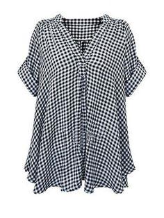 Plaid Short Sleeve V Neckline Womens Blouse
