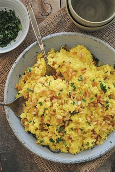 Wow--I am probably going to make this tonight, just substituting the basmati rice & saffron threads with a Jasmine Saffron Rice mix from the Amboy Market. Check it out: Saffron Rice with Golden Raisins and Pine Nuts (from an Edible Mosaic) / Bev Cooks Side Recipes, Indian Food Recipes, Vegetarian Recipes, Dinner Recipes, Cooking Recipes, Healthy Recipes, Ethnic Recipes, Veggie Recipes, Keto Recipes