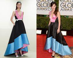 Look de Prabal Gurung PreFall 2014 / Sandra Bullock en la red carpet de los Golden Globes