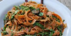 Carrot Ribbon Pasta Bowl with Coconut Almond Satay - Delicious