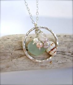 Beach Bride - Hawaii shell sterling silver circle necklace