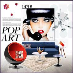 70s Pop Art Set by szaboesz on Polyvore featuring interior, interiors, interior design, home, home decor, interior decorating, Vitra, DwellStudio and Pillow Decor