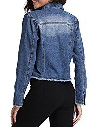 Women's Button Up Turn Down Collar Frayed Denim Washed Jacket w 2 Chest Flap Pockets
