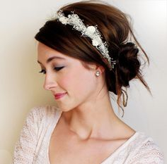 GRACE - baby's breath halo crown. $55.00, via Etsy. Like this overall look for wedding hair and accessory.