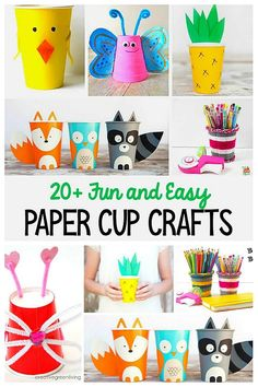 Paper Cup Crafts for Kids- So many cute ideas! 20 Fun and Easy Paper Cup Crafts for Kids- Turn paper or plastic cups into woodland animals, butterflies, yarn pencil cup, or even a cute baby chick! Children will love these simple craft projects. Recycled Crafts Kids, Easy Crafts For Kids, Craft Activities For Kids, Preschool Crafts, Quick Crafts, Craft Kids, Easter Activities, Spring Activities, Sensory Activities