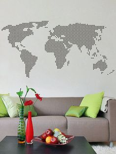 World map dotted circles infographic prezi template presentation world map wall decal interior home and office decor kik2874 gumiabroncs Image collections