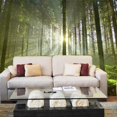 British Woodland Wall Mural in Home by Vinyl Impression