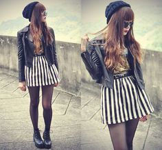 I always love black and white stripes because they're so graphic and popping. www.StyleSista.ca Choies Skirt, Motelrocks Leather Jacket
