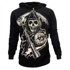 Buy Sons of Anarchy Grim Reaper Hoodie at the FX Shop! Features the Reaper graphic featured on the front and 'SOA' on the back. Hoodie Allen, Sons Of Anarchy Tara, Sons Of Anarchy Tattoos, Anarchy Quotes, Anarchy Symbol, Hooded Sweatshirts, Hoodies, Black Zip Ups, Grim Reaper
