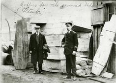 Coffins for the recovered bodies from the Titanic are seen in Halifax in 1912. April 15, 2012 marks the 100th anniversary of the sinking of the Titanic. The ship embarked on her maiden voyage from Southampton, England to New York in 1912, only to sink under cold Atlantic waters after striking an iceberg. REUTERS/Courtesy of Dalhousie University Archives and Special Collections, Halifax, N.S. Dalhousie University Photograph Collection/Handout