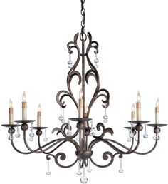 Chandelier Pendant CURREY AND COMPANY POMPEII Traditional 8-Light Cuperti CC-517