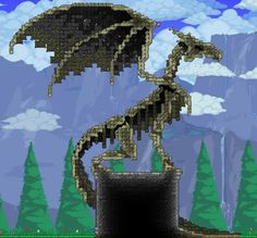A better bone dragon : Terraria Terraria House Design, Terraria House Ideas, Terraria Tips, Terraria Memes, Minecraft Castle Blueprints, Minecraft Houses, Minecraft Posters, Minecraft Statues, Fantasy Art Landscapes