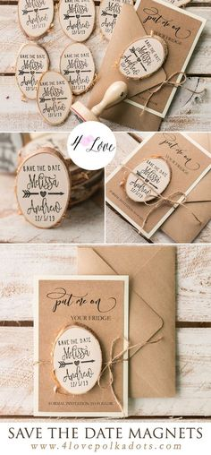 Rustic Save the Date card with wooden magnet. Lovely and affordable wedding announcement. Entire set includes put me on fridge card with envelope, wooden magnet and twine. Assembled and totally customized with your details. Just $1,50