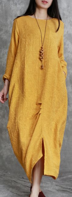 2018 yellow jacquard long linen dresses oversized asymmetric long cotton dresses
