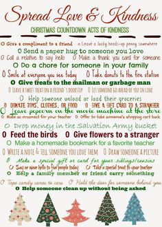 Christmas Countdown Acts of Kindness Free Printable.  Teaching Kids about Kindness & Giving during the Holiday Season!