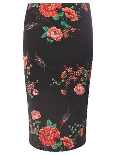 Dorothy Perkins Womens Black Oriental Print Scuba Pencil Skirt- Oriental print scuba skirt in navy with flower and bird detail. Wearing length is 71.5cm. 92% Polyester, 8% Elastane. Machine washable. http://www.MightGet.com/january-2017-13/dorothy-perkins-womens-black-oriental-print-scuba-pencil-skirt-.asp