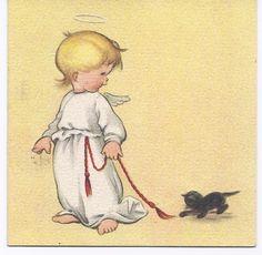 C49 Vintage Ars Sacra Unused  Christmas Greeting Card Angel with Black Cat.