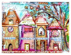 Art+Print+Collage+Work+Whimsical+Houses+by+cathymichaelsdesign,+$12.00