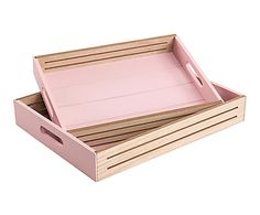 Set de 2 bandejas en madera DM - marrón y rosa